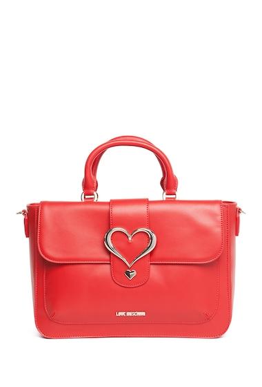 Genti Femei LOVE Moschino Heart Accent Satchel RED