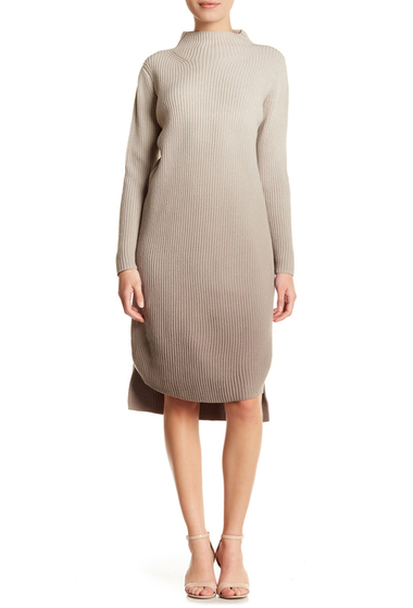 Imbracaminte Femei Lafayette 148 New York Ombre Ribbed Sweater Wool Blend Dress Petite ECRUCOBBL