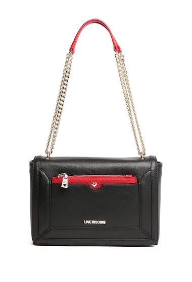 Genti Femei LOVE Moschino Chain Accent Crossbody Bag BLACK-RED