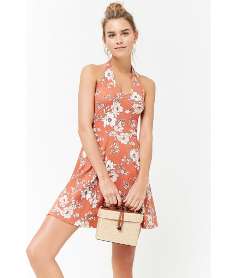 Imbracaminte Femei Forever21 Floral Print Halter Dress ROSECREAM