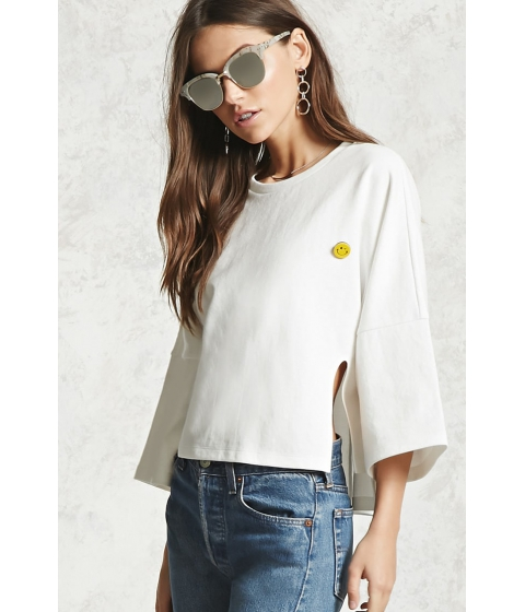 Imbracaminte Femei Forever21 Boxy Happy Face Pin Top IVORY