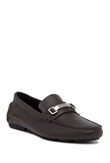 Incaltaminte Barbati Calvin Klein Mikos Tumbled Leather Driver DARK BROWN