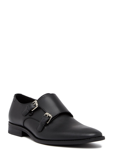 Incaltaminte Barbati Calvin Klein Robbie Brushed Saffiano Leather Double Monk Strap Loafer BLACK
