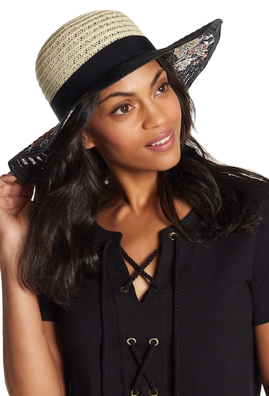 Accesorii Femei Vince Camuto Embroidered Floral Floppy Hat BLACK