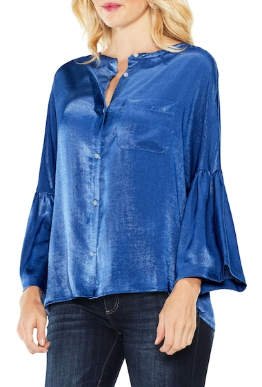 Imbracaminte Femei Two by Vince Camuto Bell Sleeve Satin Shirt DIVINE BLU
