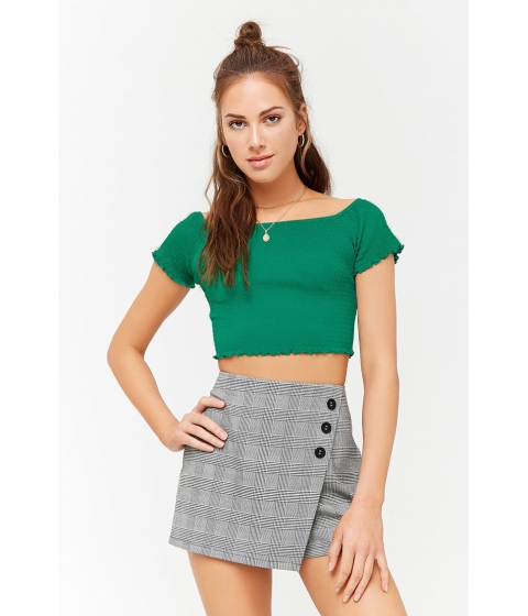 Imbracaminte Femei Forever21 Smocked Off-the-Shoulder Crop Top GREEN