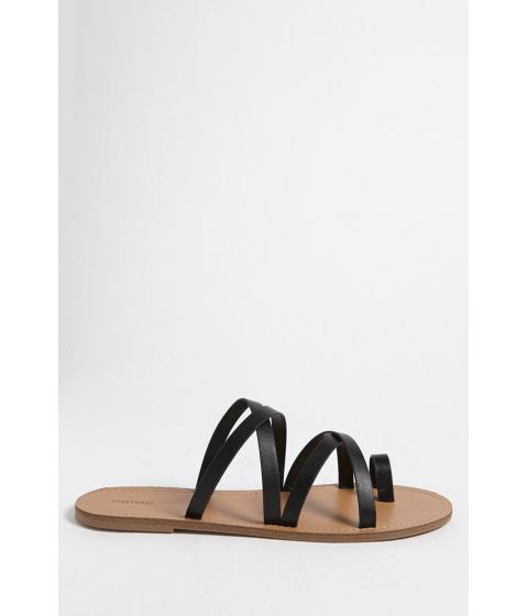 Incaltaminte Femei Forever21 Faux Leather Toe-Loop Sandals BLACK
