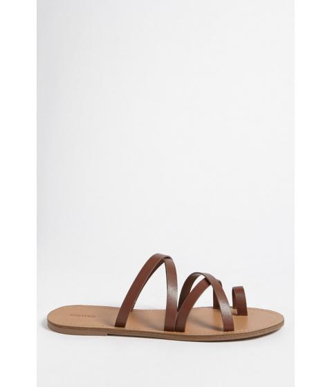 Incaltaminte Femei Forever21 Faux Leather Toe-Loop Sandals BROWN