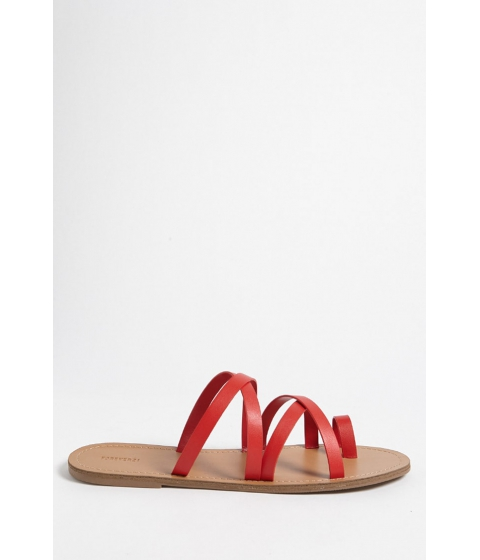 Incaltaminte Femei Forever21 Faux Leather Toe-Loop Sandals RED
