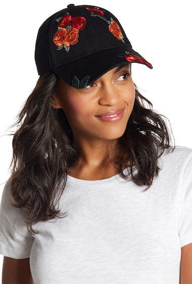 Accesorii Femei Free Press Twill Floral Embroidered Baseball Cap BLACK COMBO