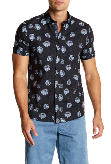 Imbracaminte Barbati Ted Baker London Jorge Slim Fit Floral Print Shirt NAVY