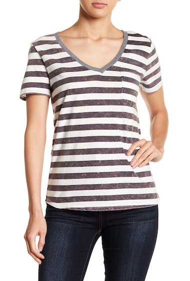 Imbracaminte Femei Socialite Striped V-Neck Pocket Tee GREYWHITE