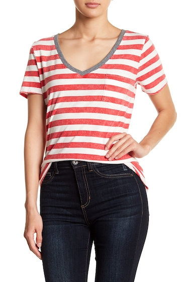 Imbracaminte Femei Socialite Striped V-Neck Pocket Tee REDWHITE