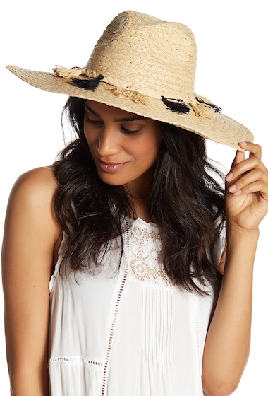 Accesorii Femei Melrose and Market Wide Brim Tassel Accent Panama Hat NATURAL