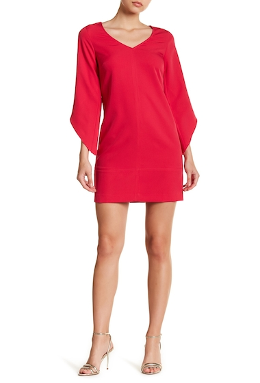 Imbracaminte Femei Laundry by Shelli Segal Crepe Asymmetrical Sleeve Dress PINK FIESTA
