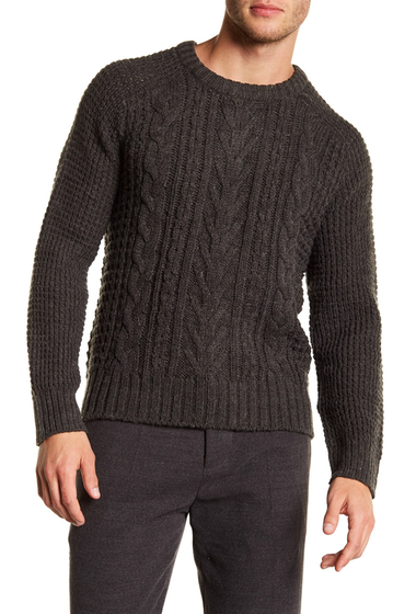 Imbracaminte Barbati Joe Fresh Cable Knit Crew Neck Sweater DK GREY MELANGE