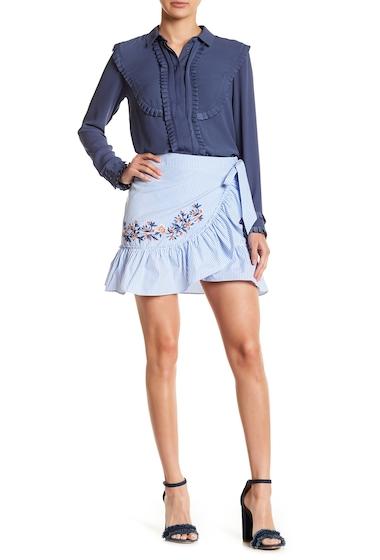 Imbracaminte Femei Socialite Embroidered Faux Wrap Skirt BLUEWHITE