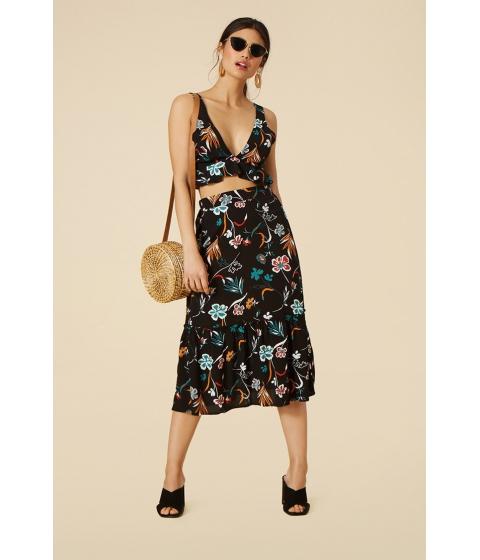Imbracaminte Femei Forever21 Floral Print Midi Skirt BLACKGREEN