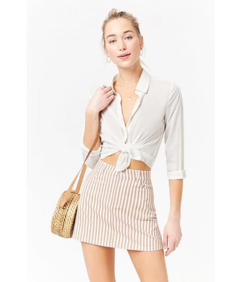 Imbracaminte Femei Forever21 Striped Mini Skirt TAUPEIVORY