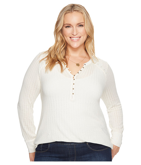 Imbracaminte Femei Lucky Brand Plus Size Embroidered Mix Henley Marshmallow