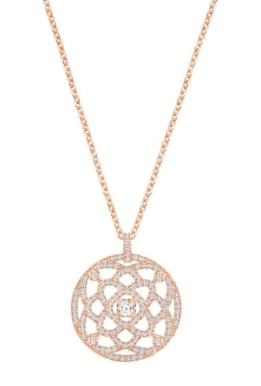 Bijuterii Femei Swarovski Daylight Pave Crystal Open Medallion Pendant Necklace WHITE