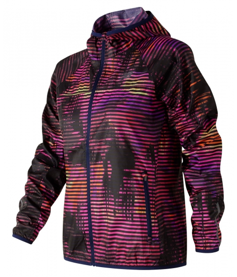Incaltaminte Femei New Balance Womens Windcheater Printed Jacket Navy with Pink