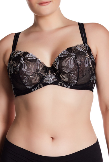Imbracaminte Femei Felina Ellie Embroidery Mesh Unlined Bra Regular Plus Size BLACK