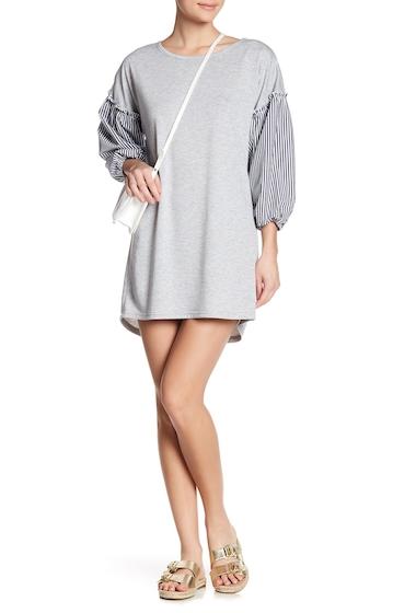 Imbracaminte Femei Como Vintage Balloon Sleeve Mixed Media Sweatshirt Dress HEATHER GR