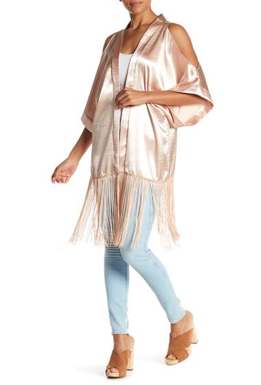 Accesorii Femei Steve Madden Pebble Satin Cold Shoulder Fringe Hem Kimono BLUSH