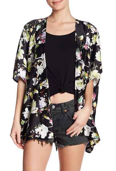 Accesorii Femei Roffe Accessories Satin Oversized Short Kimono BK