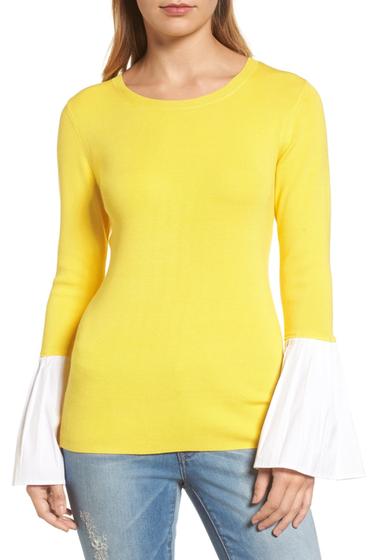 Imbracaminte Femei Halogen Poplin Bell Cuff Sweater Petite YELLOW ZEST
