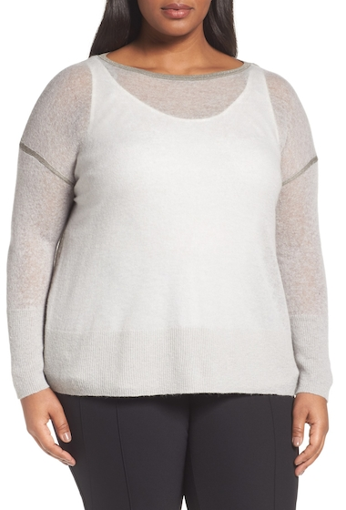 Imbracaminte Femei Lafayette 148 New York Shimmer Trim Sweater with Tank Plus Size ANTIQUE SI