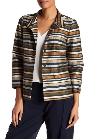 Imbracaminte Femei Lafayette 148 New York Vanna Boxy Stripe Jacket GRAMT