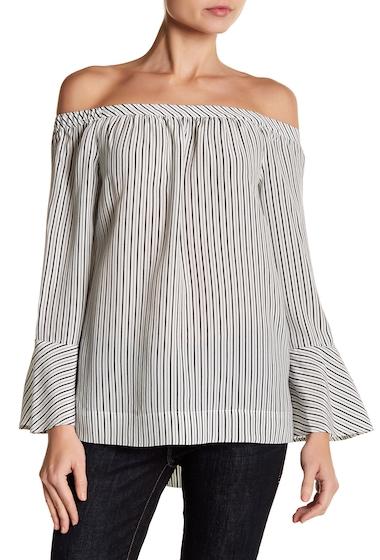 Imbracaminte Femei Joie Dinora Striped Off-the-Shoulder Silk Blouse PORCELAIN-CAVIAR