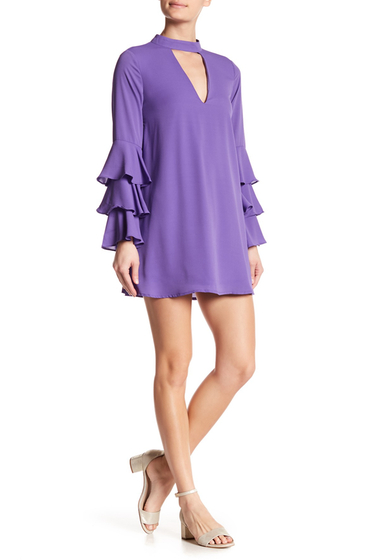 Imbracaminte Femei OOBERSWANK V Cut Out Triple Tiered Sleeve Dress VIOLET