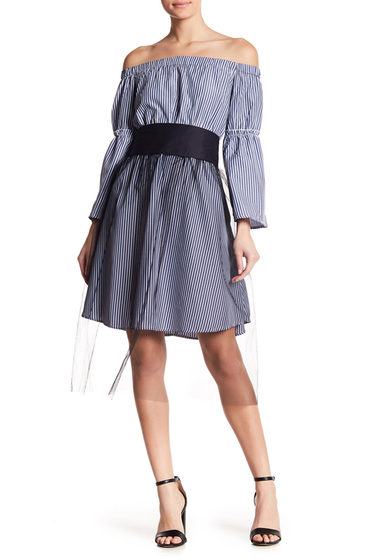 Imbracaminte Femei OOBERSWANK Stripe Off-the-Shoulder Smocked Dress BLUE