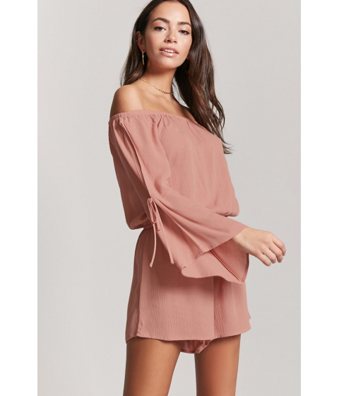 Imbracaminte Femei Forever21 Crinkled Off-the-Shoulder Romper MAUVE
