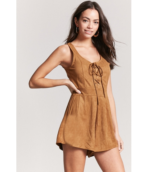 Imbracaminte Femei Forever21 Faux Suede Lace-Up Romper CAMEL