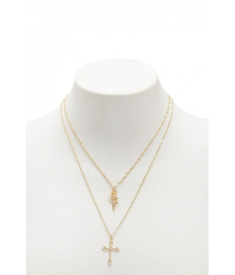 Bijuterii Femei Forever21 Rose Cross Charm Necklace Set GOLD