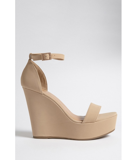 Incaltaminte Femei Forever21 Faux Leather Wedges NUDENUDE