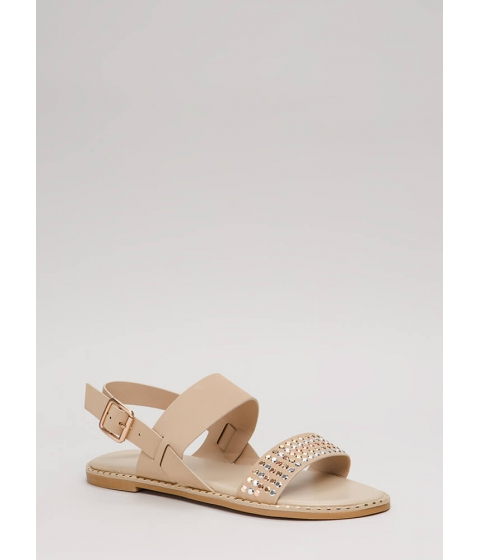 Incaltaminte Femei CheapChic Lead The Way Strappy Studded Sandals Nude