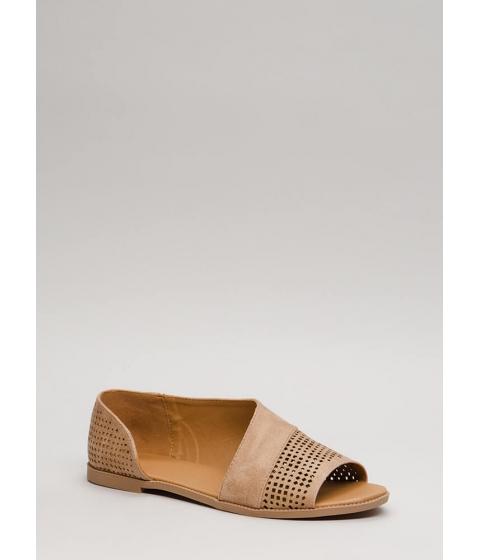 Incaltaminte Femei CheapChic Open Up Asymmetrical Perforated Flats Tan