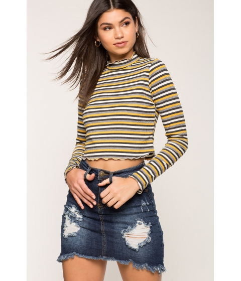 Imbracaminte Femei CheapChic Multi Stripe Mock Neck Tee Yellow Pattern