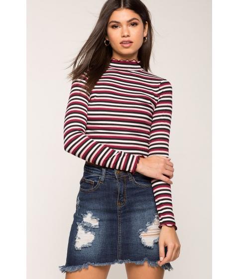 Imbracaminte Femei CheapChic Multi Stripe Mock Neck Tee Red Pattern