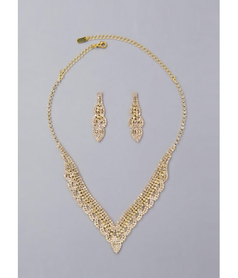 Bijuterii Femei CheapChic V Is For Victory Jeweled Necklace Set Gold