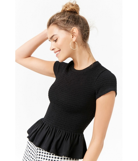Imbracaminte Femei Forever21 Smocked Ruffle Top BLACK