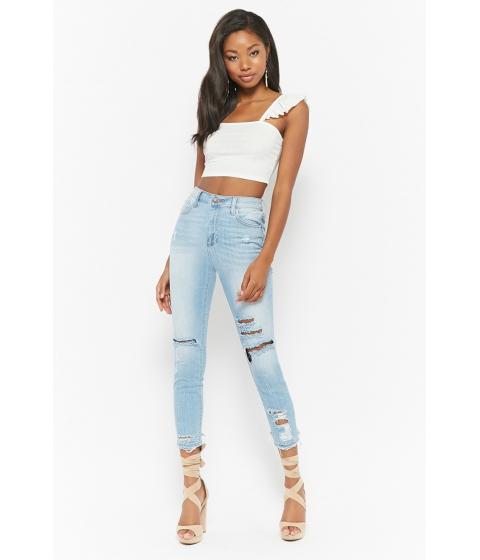 Imbracaminte Femei Forever21 Distressed High-Rise Skinny Jeans LIGHT DENIM