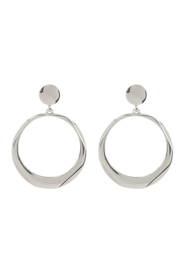 Bijuterii Femei Natasha Accessories Geometric 70mm Hoop Drop Earrings SILVER