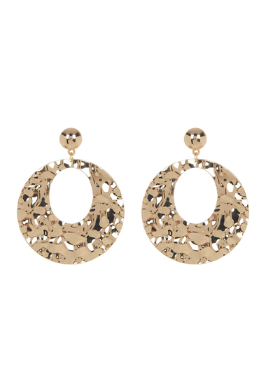 Bijuterii Femei Natasha Accessories Hammered 70mm Hoop Drop Earrings GOLD