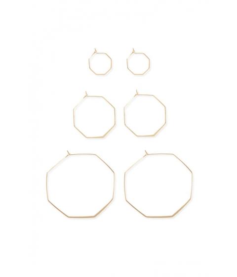 Bijuterii Femei Forever21 Octagon Hoop Earring Set GOLD